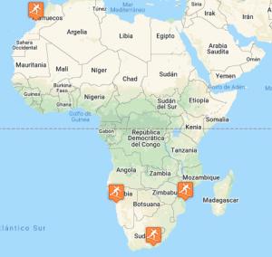 Ubicación destinos surf de África